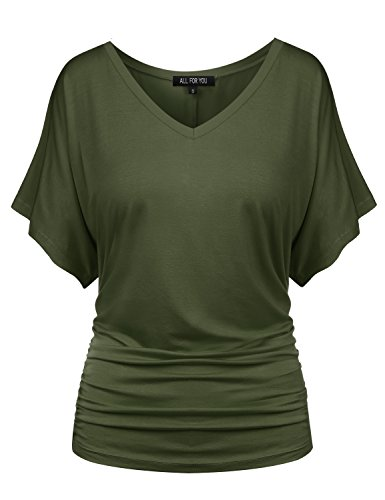 ALL FOR YOU Womens V Neck Kimono Dolman Short Sleeve Top Olive X Large
