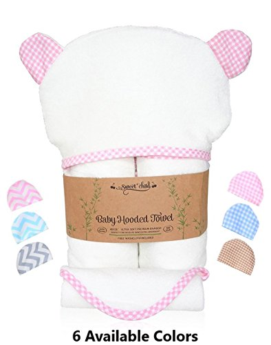 Sweet Child 100% Bamboo Premium Hooded Baby Towel and Washcloth Set for Girl (40