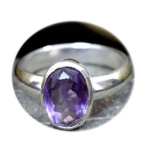 (Choose Your Color Natural Gemstone Chakra Healing Ring Sterling Silver 5 Carat Handmade Jewelry Size 5-13)