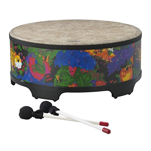 Remo Drum, KIDS PERCUSSION, Gathering Drum, 18'' Diameter, 8'' Height, Fabric Rain Forest by Remo
