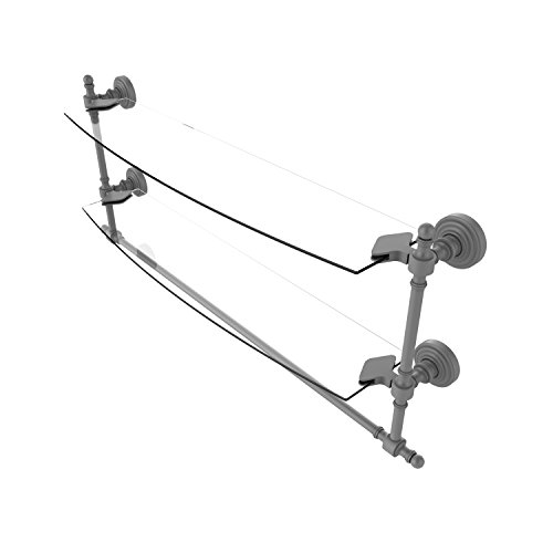 Allied Brass RW-34TB/24-GYM Retro Wave Collection 24 Inch Two Tiered Glass Shelf with Integrated Towel Bar Matte Gray