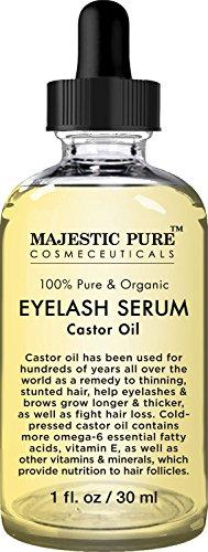 Majestic Pure Castor Oil For Eyelashes Growth Serum Pure And Organic Promotes Natural Eyebrows Eyelash Growth 1 Fl Oz Free Set Of Mascara Brush And Eyeliner Applicator