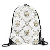 Skull And Bones Drawstring Backpack Beam Mouth Sport Bag Rucksack Shoulder Bags For Men & Women