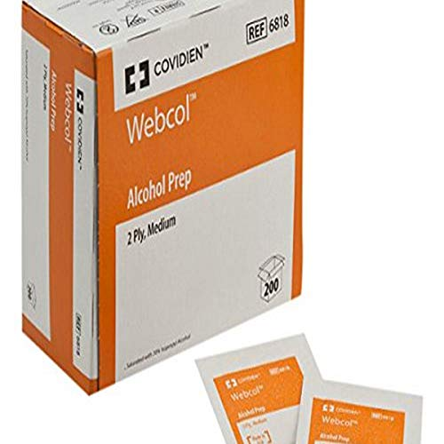 "COVIDIEN 6818pk6 6818 Webcol Alcohol Prep, Sterile, Medium, 2-Ply, 4.3"" Height, 2.1"" Wide, 4"" Length, Pad, 6 Packs of 200"
