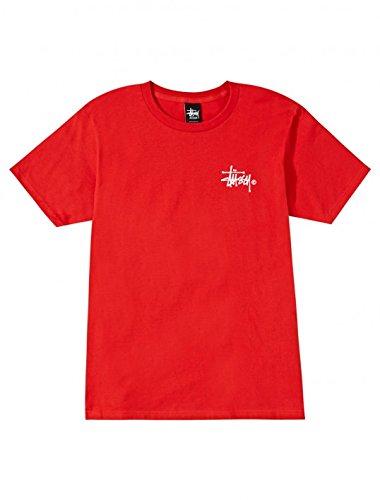 Stussy Mens Basic Logo Short-Sleeve Shirt, Brite Red, Large
