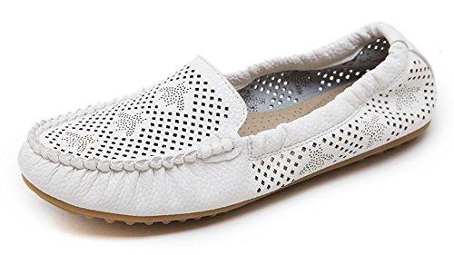 Femme Mocassins Chaussures Aisun Coutures Blanc Simple Plates 4xqw1RP