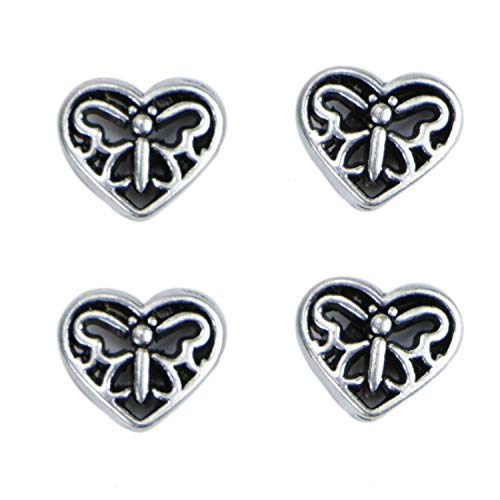 (Monrocco 50 Pack Tibetan Silver Spacers Hollow Heart Shape Butterfly Spacer Beads Charm Bulk for Bracelets Jewelry)