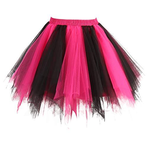 Topdress Women's 1950s Vintage Tutu Petticoat Ballet Bubble Skirt (26 Colors) Black Fuchsia -