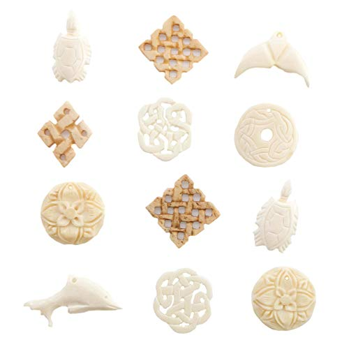 (Bone Pendants for Jewelry Making for Adults - Carved Ox Bone Pendant Sets for Necklaces –Free Leather Necklace for Inspiration - Assorted Designs - Celtic, Tribal and Marine (12 Pieces - Ivory))