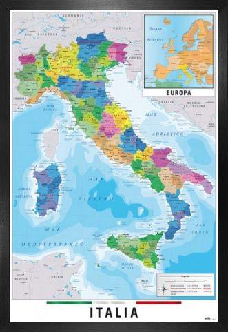 Mapa De Italia Fisico.Amazon Com 1art1 Maps Poster And Frame Mdf Mapa Italia