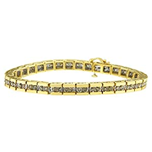 10KT Yellow Gold Round Cut Champagne Diamond Bar Link Bracelet (5.00 cttw, J-K Color, I2-I3 Clarity)