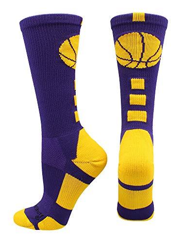 MadSportsStuff Basketball Logo Athletic Crew Socks, Small - Purple/Gold
