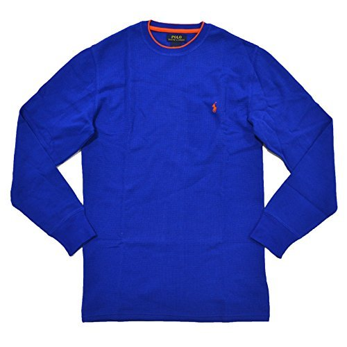 Polo Ralph Lauren Men's Long-sleeved T-shirt / Sleepwear / Thermal (Medium, Royal Blue/Orange - Polo And Orange Lauren Ralph Blue