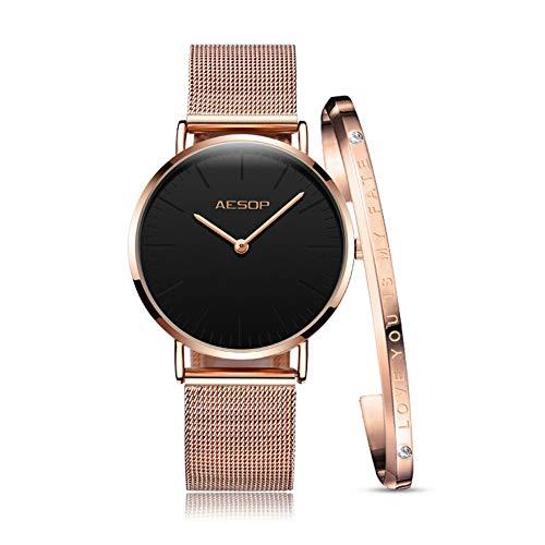 Ultra Thin Watches for Women Watches Waterproof Black/White Rose Gold Milanese Band with Bracelet Simple Fashion Ladies Watch Synthetic Sapphire Japan Analog Quartz Movement Watch New ()
