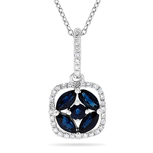 10k White Gold Blue Sapphire Cluster and Diamond Halo Pendant Necklace, Birthstone of September (Genuine Cluster Pendant Sapphire Blue)