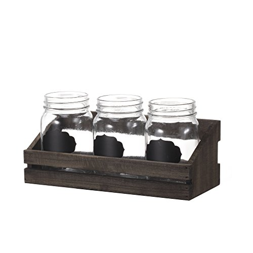 V-More Bud Vase with Chicken Wire Basket V-More Rustic Glass Mason Jar with Chalkboard Label and Wooden Tray 6.5-inch Tall For Home Decor Wedding Party Celebration by V-More Bud Vase with Chicken Wire Basket