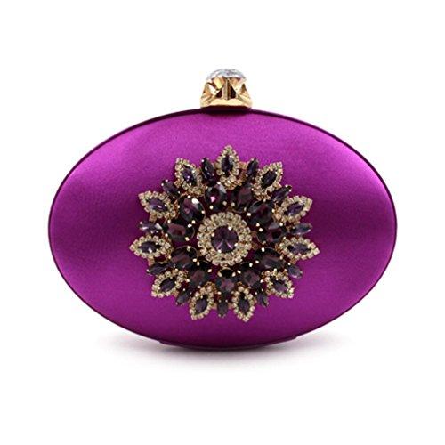 Clutch Flower Day Party Bags Purple Women Ladies Purse Evening Bag Clutches Causal TwZvqxzgw