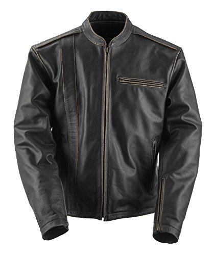 (Black Brand Men's Leather Compression Motorcycle Jacket (Black, XXX-Large))