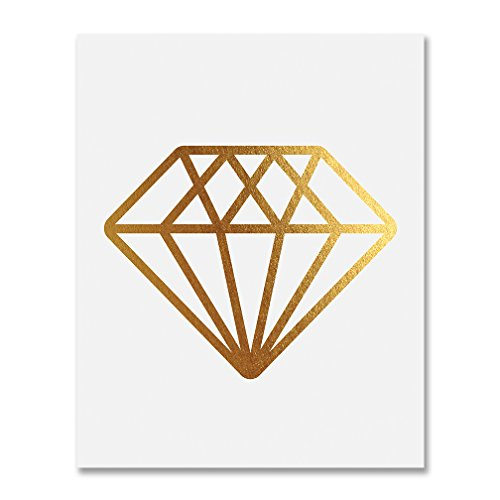 Diamond Gold Foil Print Wall Art Bride Engaged Gift Fiance Home Decor Metallic Gemstone Poster 5 inches x 7 inches B12