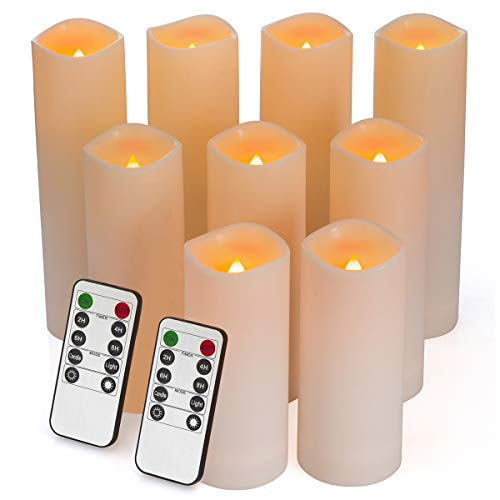 Flameless Candles, Waterproof Outdoor Candles set of 9 ( D 2.2'' X H 5''5''6''6''6''7''7''7''7'' ) LED Candles Battery Operated Candles with Remote Timer, Ivory White