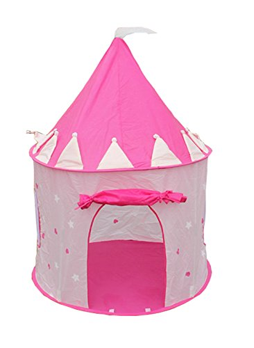FinerKids Pink Princess Castle Pop-up Play Tent, Large Indoor-Outdoor Playhouse Castle. Perfect for Girls 2, 3, 4 up. HOURS OF FUN. Easy-up House, Handy Carry Case, Stakes. PROMISED to Keep 'em Busy!!