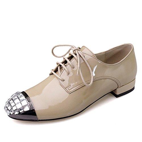 Nine Seven Cuero Moda Puntera Redonda Zapatos de cordones con Diamantes de Imitacion para Mujer albarique