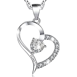 MARENJA Valentines Day Gifts-Womens White Gold plated Necklace Heart Pendant Engraved I Love You Preserved Fresh Rose in Jewelry Box