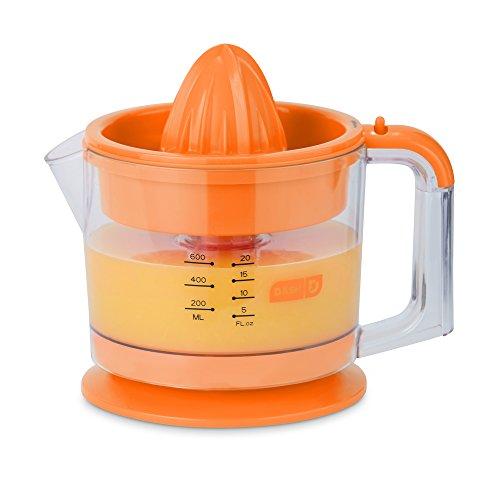 Dash Citrus Juicer Extractor: Compact Juicer for Healthy Juice, Oranges, Lemons, Limes, Grapefruit & other Citrus Fruit with Easy Pour Spout + 32 oz Pitcher - Orange (Down Home Lemonade Stand)