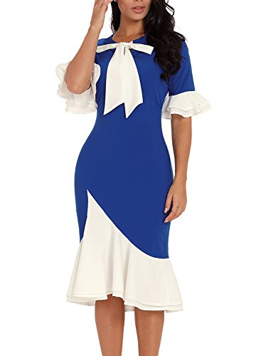 Lovezesent Women Elegant Ruffle Sleeve Formal Evening Wedding Party Mermaid Bodycon Midi Dress with Bow Blue Large