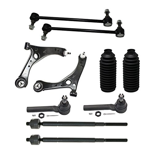 Detroit Axle - New Set Front Lower Left and Right Control Arm and Ball Joint assembly, Sway Bar, Outer and Inner Tie Rod End for Chrysler - Town & Country and Dodge - Grand Caravan 2008-2010