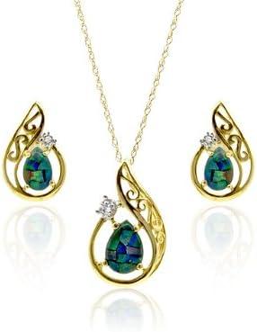 9 Cts 2.772 Gr Femme Triplet dOpale 0.006 Cts Or Jaune 375//1000 Parure collier et boucles doreilles 181P0094-26-181E0646-07