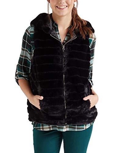 just one Women's Hooded Vest Faux Fur Full Zipper Side Pockets, Black XL