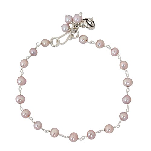 NOVICA Dyed Pink Freshwater Cultured Pearl Handmade Floral Bracelet, 'Pink Rose Horizon' Cultured Pearl Rose Bracelet