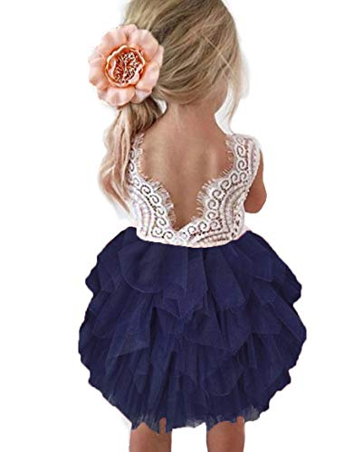 Topmaker Backless A-line Lace Back Flower Girl Dress (5Y, Navy)
