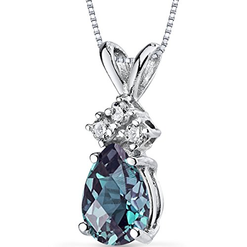 Genuine Checkerboard Green (14 Karat White Gold Pear Shape 1.00 Carats Created Alexandrite Diamond Pendant)