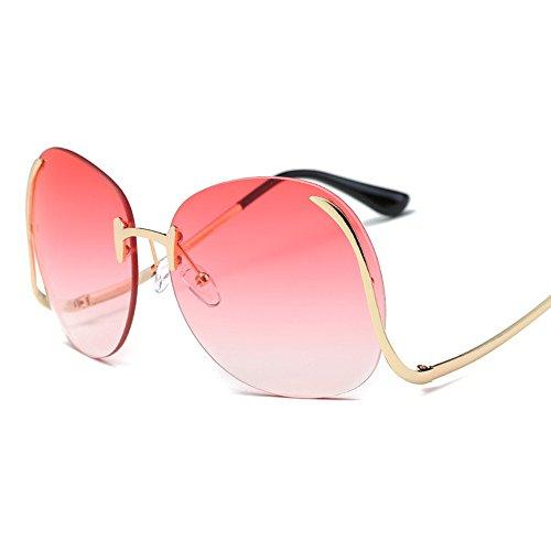 VeBrellen Fashion Oversized Clear Lens Women's Rimless Round Sunglasses, Upside Down Frame (Gold Frame With Red Lens, - Down Sunglasses Upside