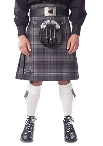 Kilt Society Mens 7 Piece Full Dress Kilt Outfit- Hamilton Tartan with White Hose 38'' to 42'' by Kilt Society