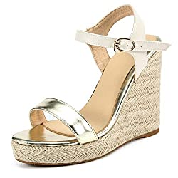Women S Open Toe Platform Wedge Large Size Sandals Thick Buckle Strap Wedge Sandals Gold