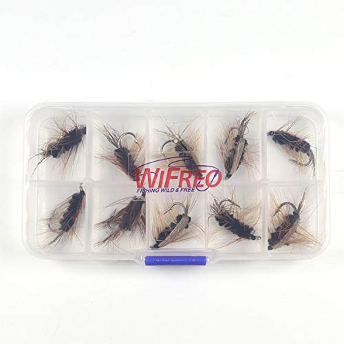 Jammas 10PCS #6 Black Body Woolly Worm Brown Caddis Nymph Fly Deer Hair Beetle Trout Fly Fishing fly Bait - (Color: 10pcs in Box)