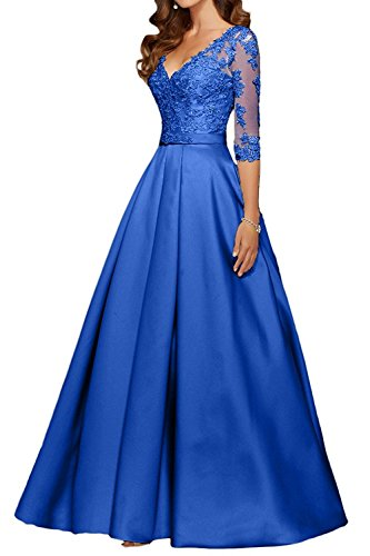 Charm Bridal Long Satin V neck Women Prom Evening Party Dresses with Sleeve 2017 -14-Royal blue