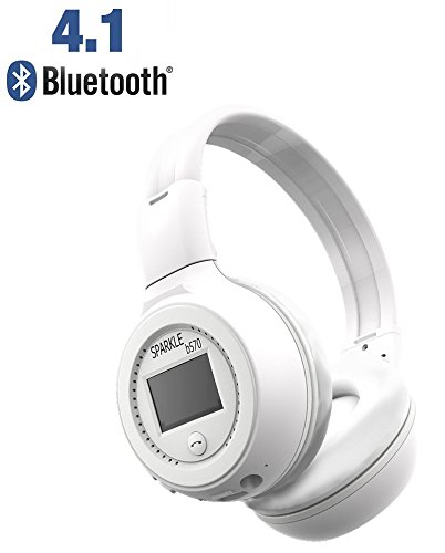 ZEALOT B570 Bluetooth 4.1 LCD Wireless Headset, FM radio TF Card with Microphone Handsfree call For iPhone Samsung Android Tablet (White)