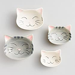 Cat Measuring Cups Nested Ceramic - White and Gray