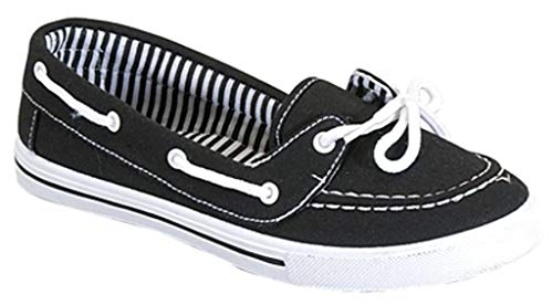 RL Perla 82 Canvas Lace Up Flat Slip On Boat Comfy Round Toe Sneaker Tennis Shoe Black/White 9