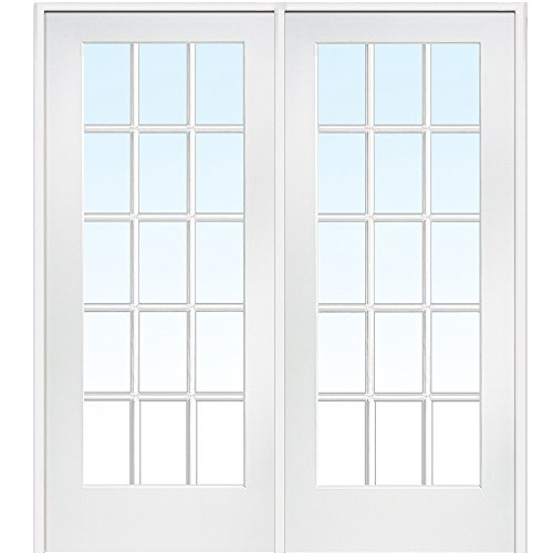 National Door Company Z009309L Primed Wood Prehung In-Swing Interior Double Door, Clear Glass, 15 Lite, Left Hand, 72'' x 80'' by National Door Company