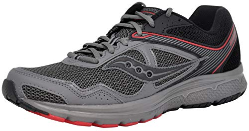 Saucony Men's Cohesion 10 Running Shoe, Grey/Black/Red,