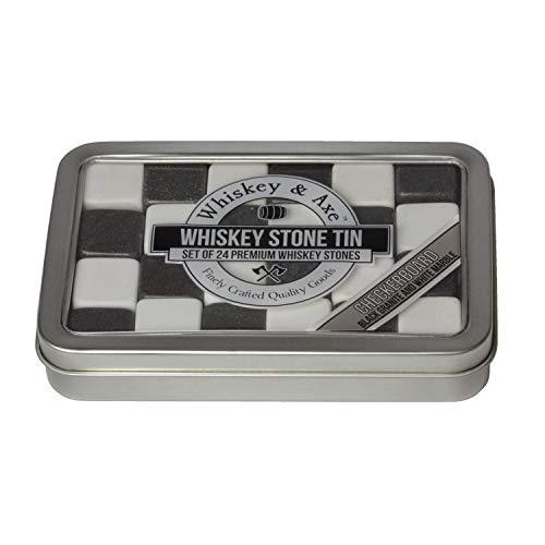 Cube Onyx Black (Whiskey & Axe - Premium Set of 24 Checkerboard Whiskey Stones with Storage Tin)