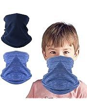 KGC 2 Pack Kids Neck Warmer Gaiter,Fleece Windproof Winter Face Mask Scarf Bandana Face Cover for Boys Girls Outdoor Sports