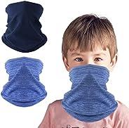 KGC 2 Pack Kids Neck Warmer Gaiter,Fleece Windproof Winter Face Mask Scarf Bandana Face Cover for Boys Girls O