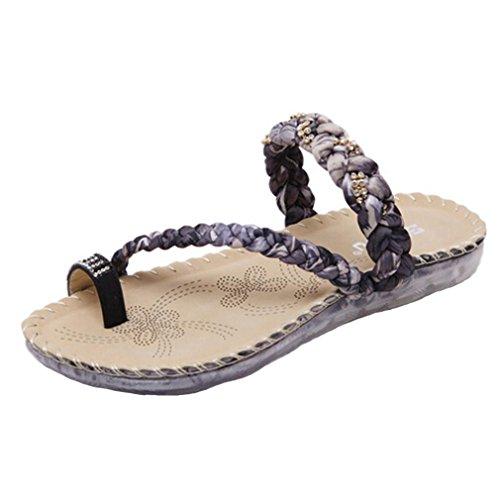 Anshinto Women Boho Flip Flops Sandals Casual Wedge Clip Toe Beach Shoes (Black, (Smoking Slipper Lace)