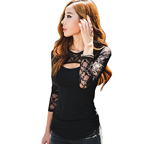 Choutia Sexy Women Lace O-Neck Long Sleeve Lady T-Shirt Casual Blouse Tops (S, Black) from Choutia